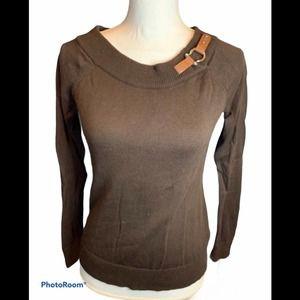 Ralph Lauren chocolate brown horsebit sweater S
